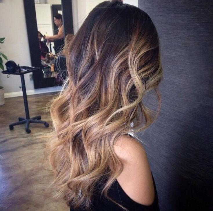 Шатуш на тёмные длинные волосы
