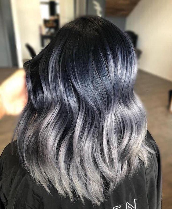 Балаяж на средние темные волосы