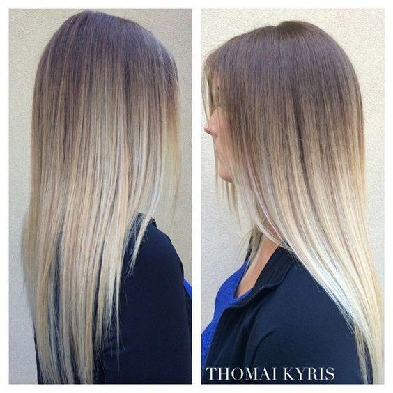 Растяжка цвета волос от темного к светлому на длинных волосах