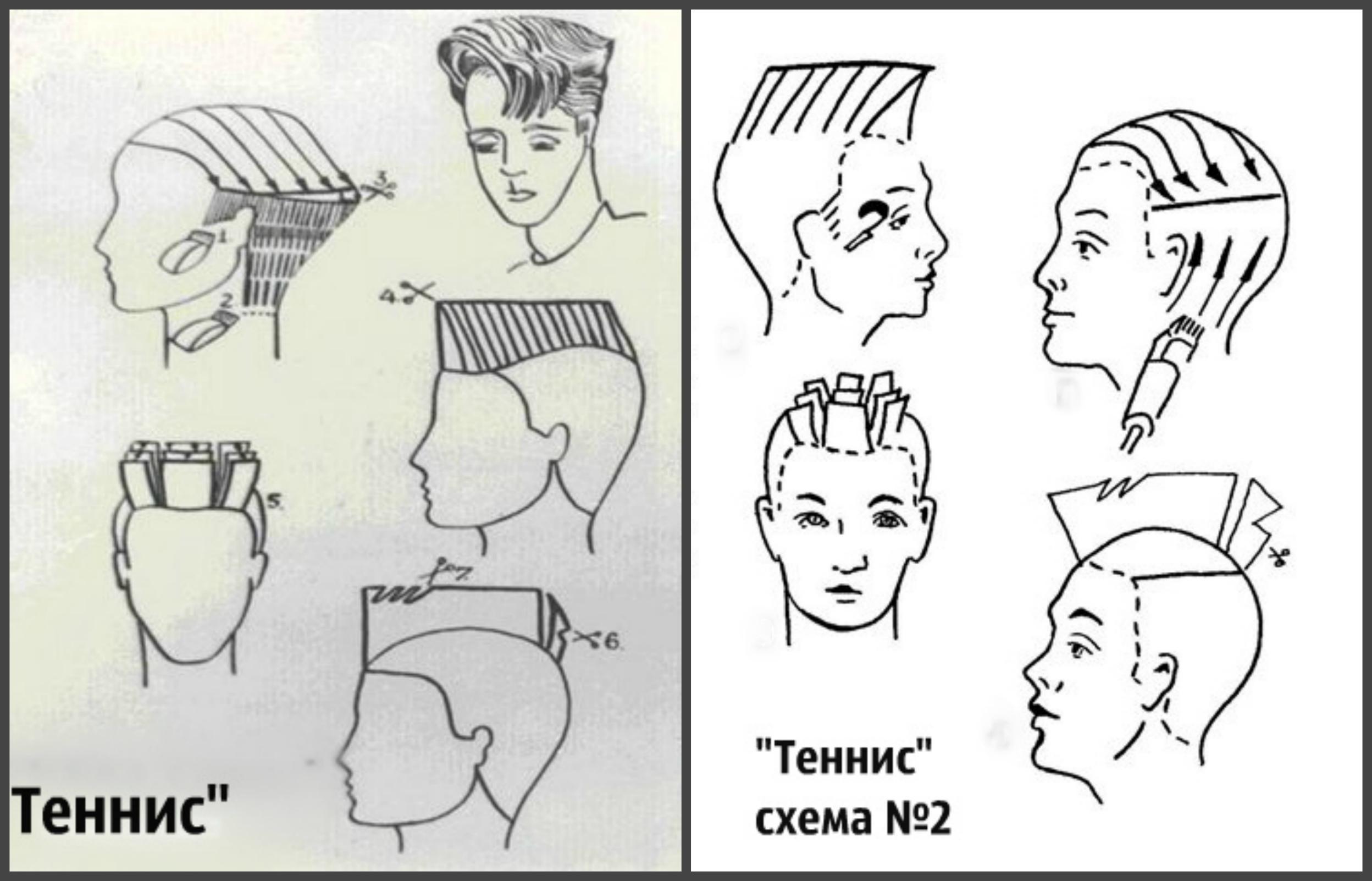 Схема выполнения стрижки теннис