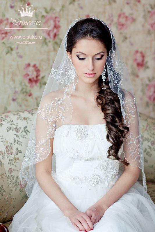 Свадьба прически с фатой длинные волосы