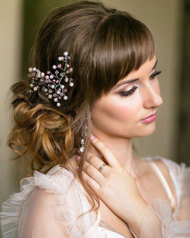 Прически для невест у которых нет челки