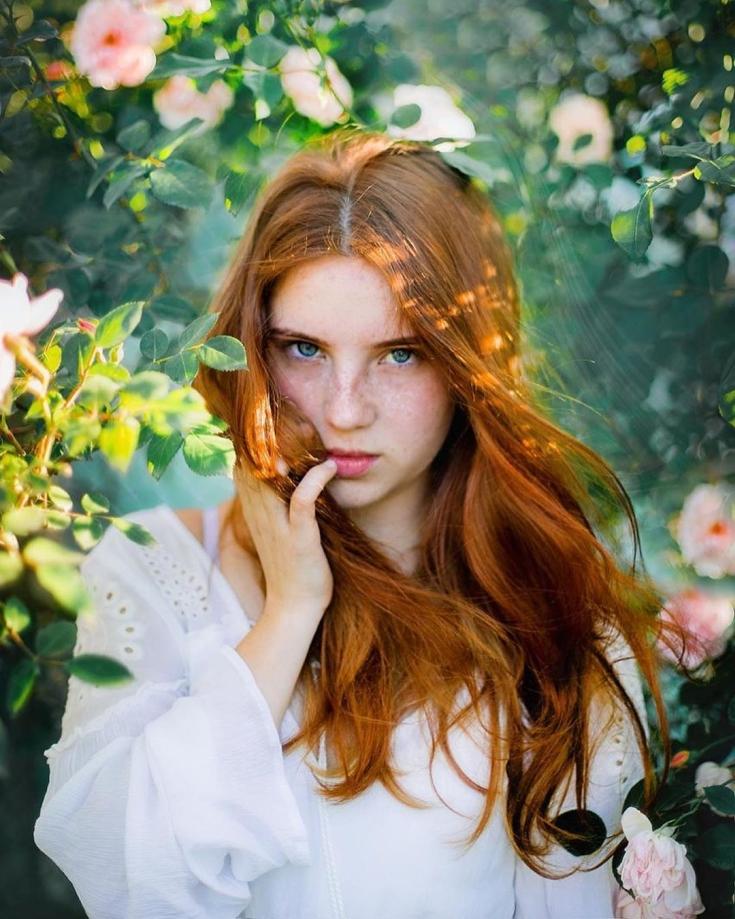 Рыжий цвет волос для голубых глаз