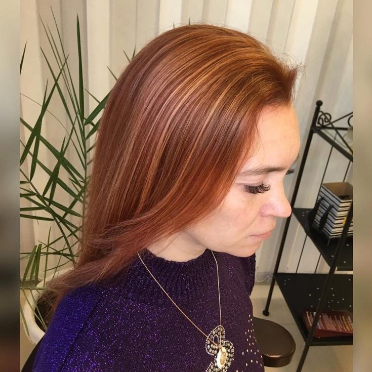 Рыжий цвет волос с мелированием