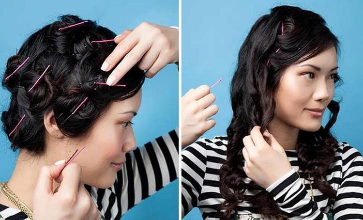 Прическа с кудрями на средние волосы