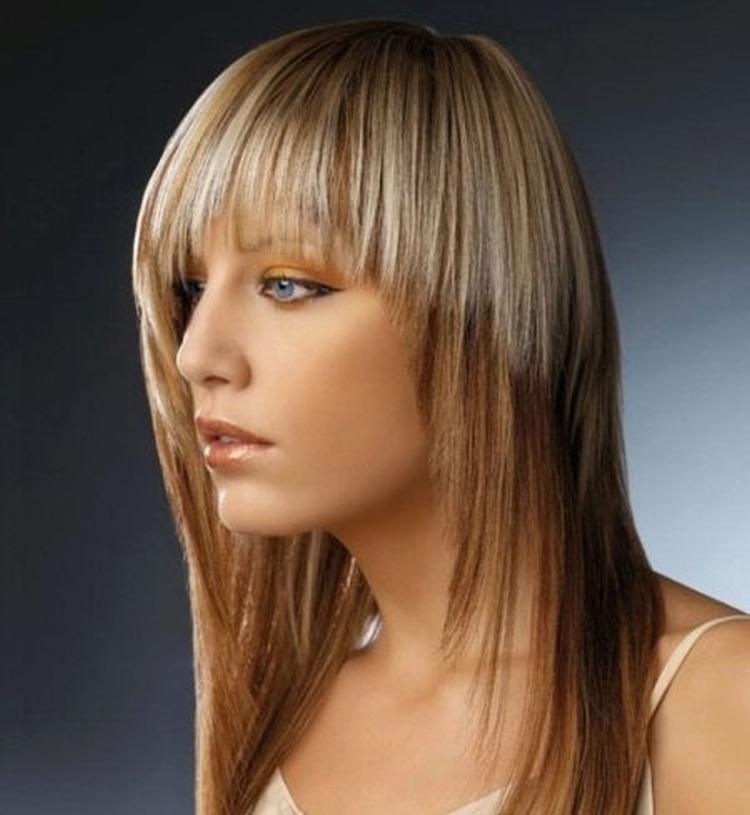 Стрижка для длинных волос с челкой