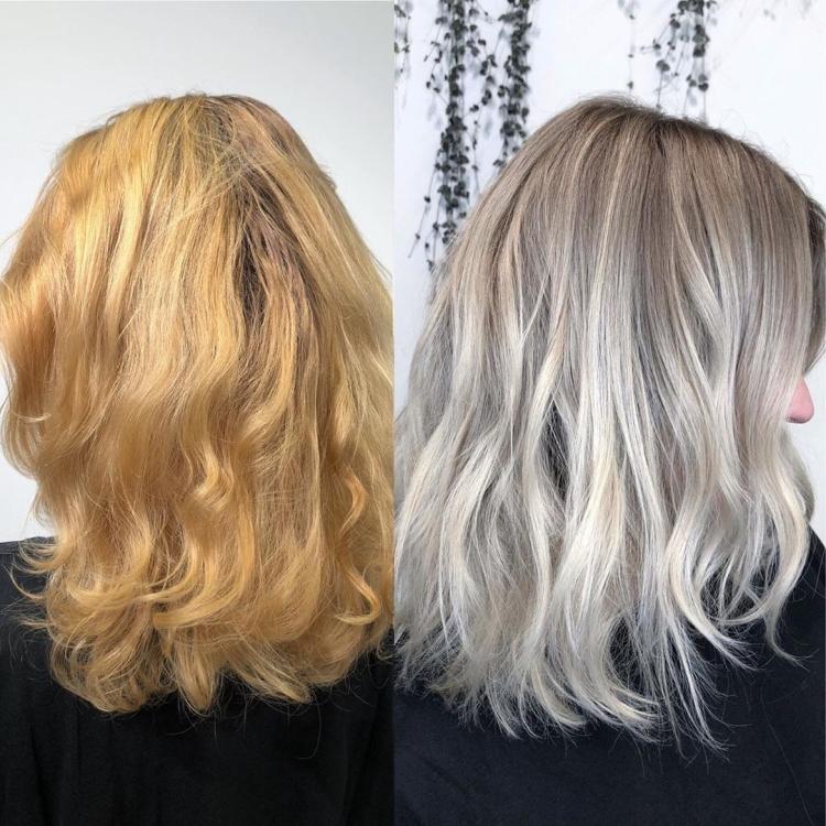 Как убрать желтизну с волос после обесцвечивания
