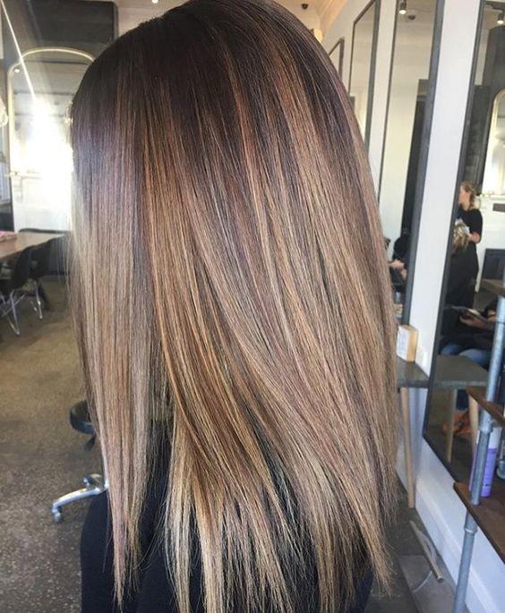 2019 Балаяж на прямые волосы