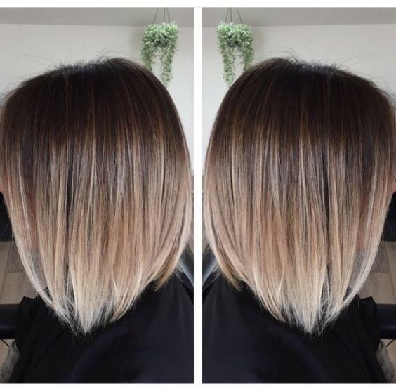 омбре на каре с челкой фото темные волосы