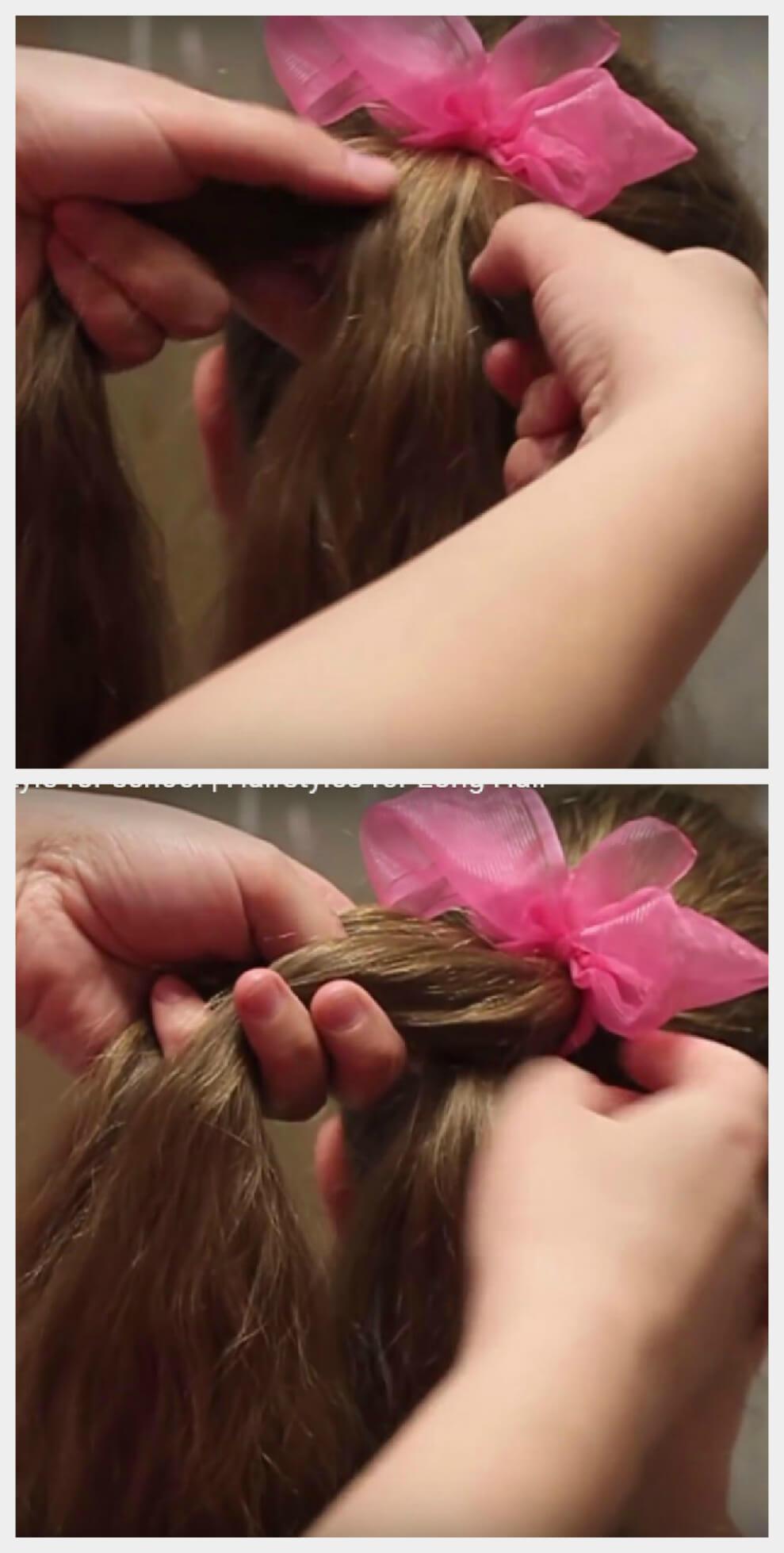 Коса с лентой из хвоста пошагово