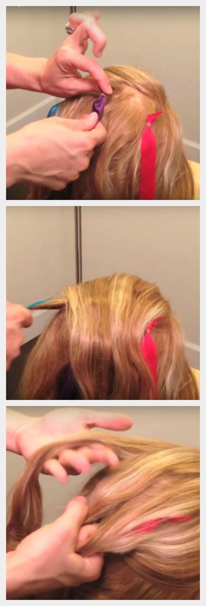 Французская коса с лентами пошагово