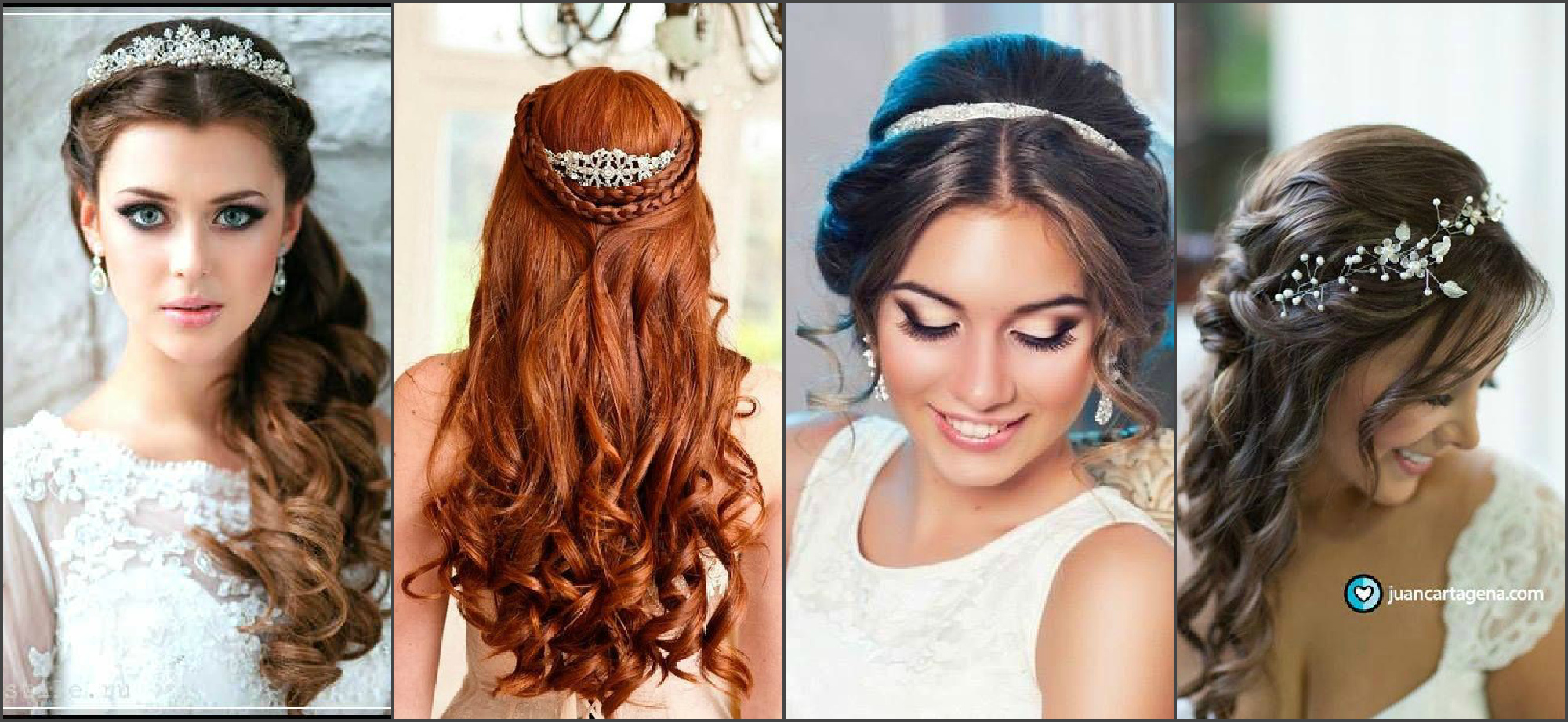 Wedding hairstyle with diadem