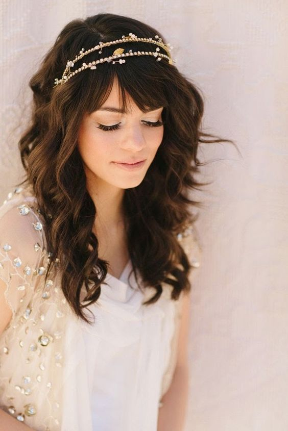 Wedding hairstyles with bangs and diadems