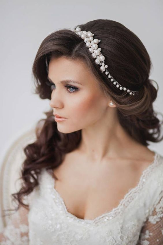Wedding hairstyles with a diadem on medium-length hair