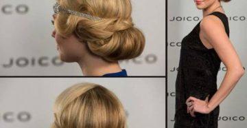 прическа с ободком на средние волосы