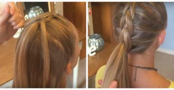 плетение косы с помощью резинки