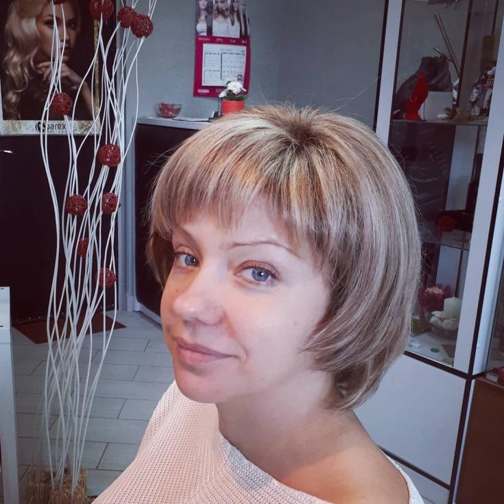Русый цвет волос на короткие волосы