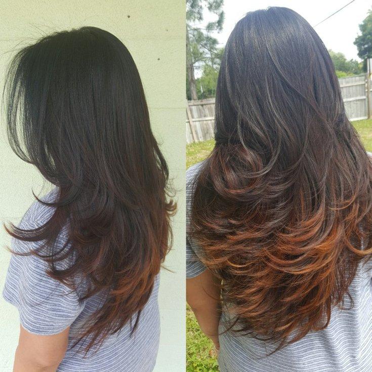 Стрижка каскад на длинные волосы